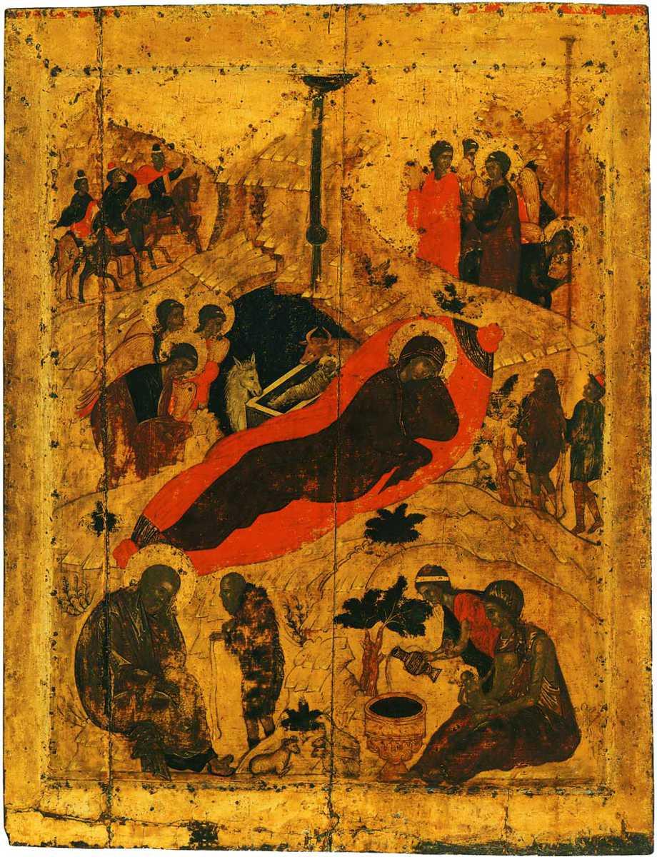 Icoană ortodoxă orientală cu nașterea lui Hristos